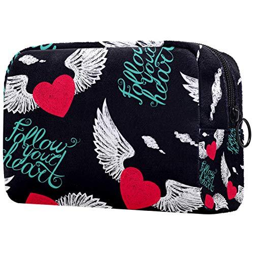 Organizador de cosméticos de viaje para mujer, bolsa de maquillaje con cremallera, diseño de corazones de amor