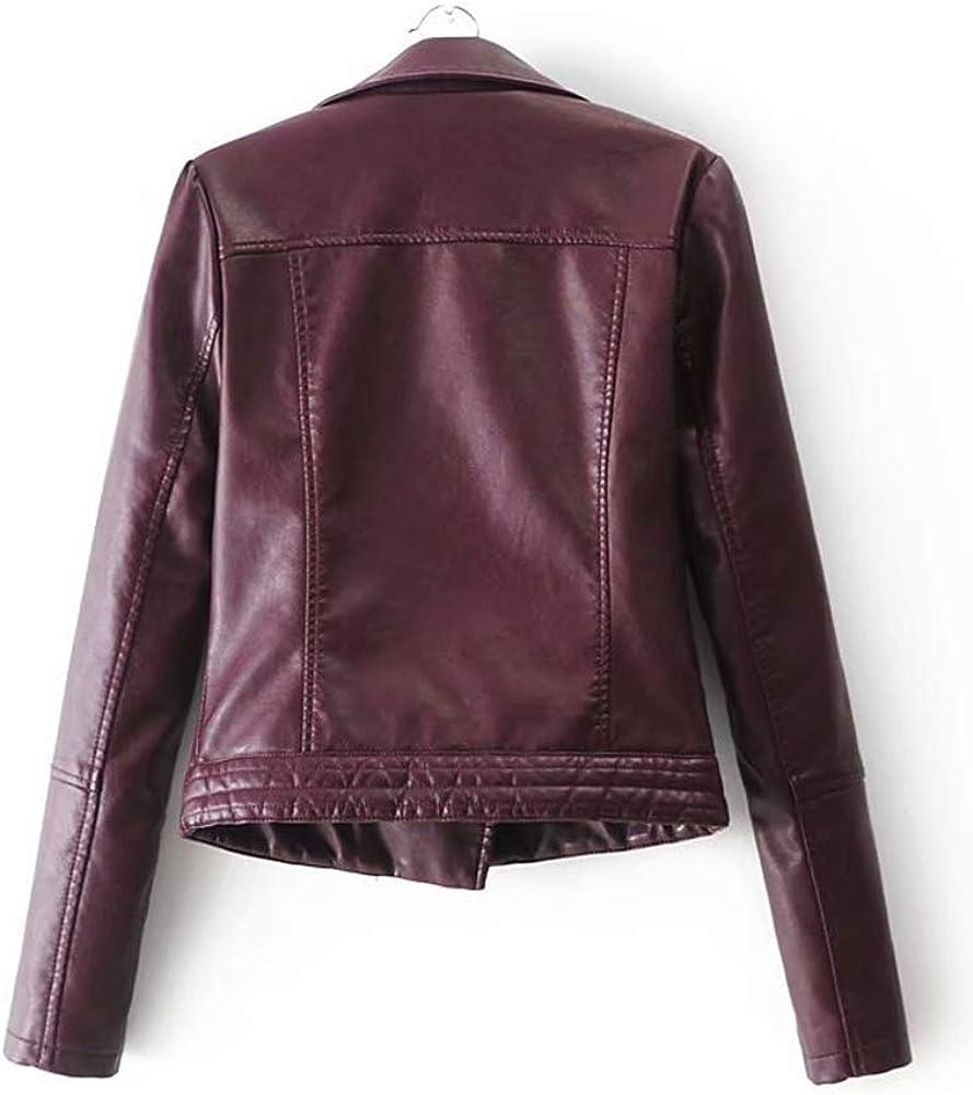 ShiFan Kunstlederjacke Damen Kurz Jacke Lederjacke Casual Bikerjacke Rivet Reißverschluss Streetwear Einfarbig Mantel Burgunderrot