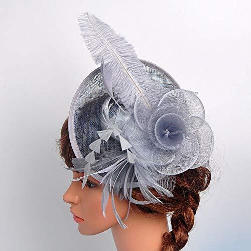 Xme Damen-Partyhüte, Damen-Frühlings- und Sommer-Partyhüte, Partyhüte aus Hanf-Straußenwolle