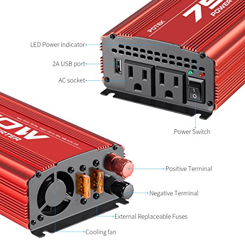 POTEK 750W Power Inverter DC 12 V to AC 115V Converter with 2A USB Charging Port