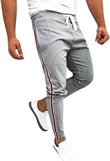 PEIZH Mens Side Stripe Stitching Trousers Pants Joggers Striped Patchwork Casual Drawstring Sweatpants Trouser Long Pants