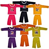 KIFAYATI BAZAR kids top bottom T-shirt Pyjama Set baba suit combo set Baby boys girls Multi Colorpack of 6 (0-3 Months)