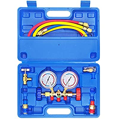 JIFETOR 3 Way AC Manifold Gauge Set, HVAC Diagnostic Freon Charging Tool for Auto Household R12 R22 R404A R134A Refrigerant, Quick Couplers Can Tap Acme Adapter Valve Core Tool