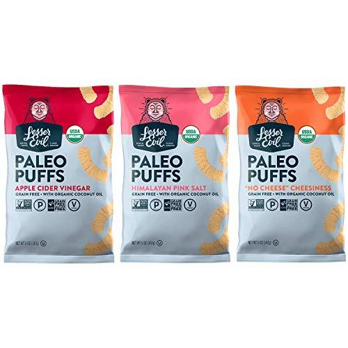 LESSER EVIL, PALEO PUFFS, Variety Pack of 3, 5 oz Bags - No Artificial Ingredients, Gluten Free, Low Sodium, Vegan, Wheat Free, Yeast Free, 95%+ Organic