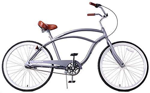 Fito Men's Marina 2.0 Aluminum Alloy 3 Speed Beach Cruiser Bike, Grey, 18'/One Size