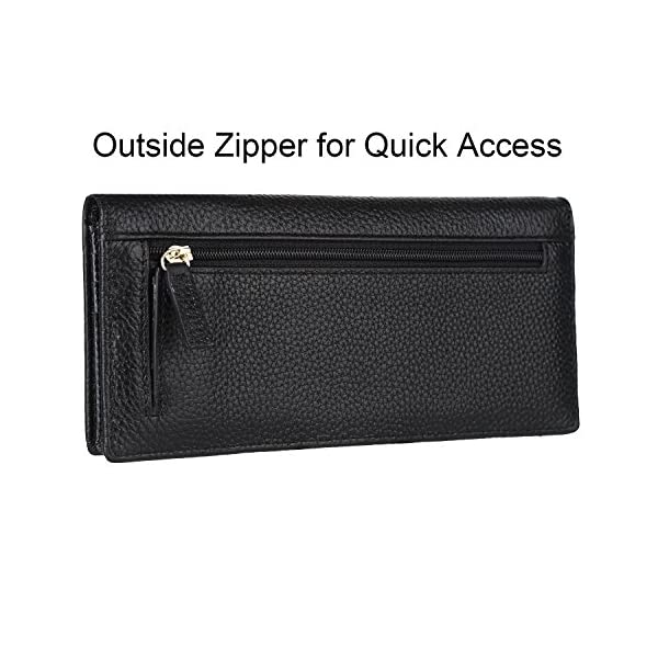 Lavemi RFID Blocking Ultra Slim Real Leather Credit Card Holder Clutch Wallets for Women 3