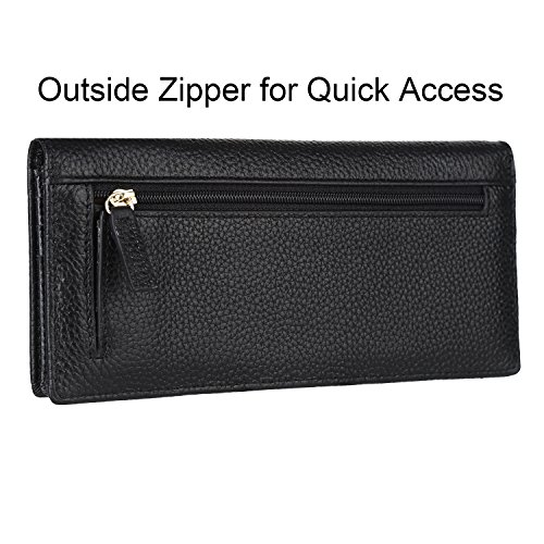 Dante Women RFID Blocking Ultra Slim Wallet, Ladies Clutch Wallet, Shield Against Identity Theft(Black)