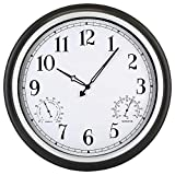 18 Inch Large Outdoor Waterproof Wall Clock with Thermometer and Hygrometer, Non-Ticking Battery Operated Clock, Vintage Wall Decorative Clock