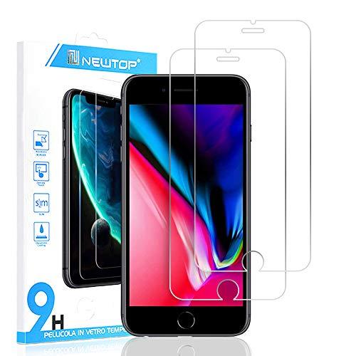 N NEWTOP [2 PEZZI] Pellicola Compatibile con iPhone 7 Plus e 8 Plus, GLASS FILM 0.3mm 9H Vetro Temperato Proteggi Schermo Display Anti Urto Protezione