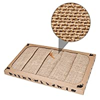 Sisal Fabric, No Paper Scater-- Compared with cardboard scratchers, Pieviev scratchers are made of sisal fabric which are more wear-resistant, no shredded paper scattering. No need to sweep off paper every day. Large Size & Effectively Prevent Scratc...