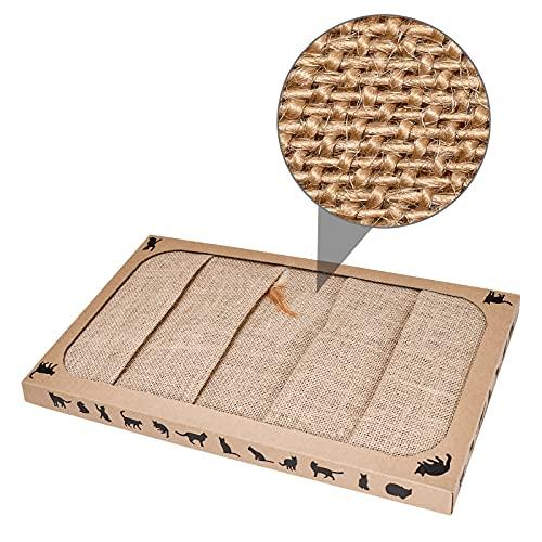 Pieviev Kratzbrett für Katzen (44.5x25.9x3.5cm) Sisal Scratching Pad Katzenspielzeug mit Katzenminze (1 Stück)