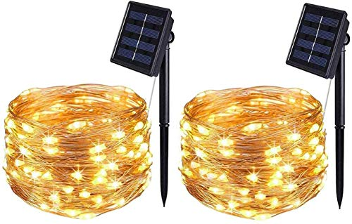 BOLWEO 2 Pack Solar Powered String Lights,Solar Fairy Lights,16.4Ft 50LEDS,Waterproof Wire Lighting for Indoor Outdoor Christmas Tree Halloween Home Garden Decoration(Warm White)