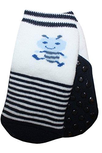 Weri Spezials baby- en kindernoppen ABS full-frotee sokken met het mooie patroon - de kleine mier in marine