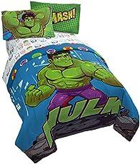 Jay Franco Marvel Super Hero Adventures Hulk Out 4 Piece Twin Bed Set - Includes Reversible Comforter & Sheet Set Bedding - Super Soft Fade Resistant Microfiber - (Official Marvel Product)