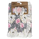 Baby Blanket with Headband – Baby Blanket Grey Floral Reversible Baby Blanket Set for Girls (Heather Floral Ruffle)