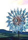 Depruies Windspiele für Draußen Windrad Garten Metall, Windspiel Solar Wind Spinner Saisonal Solarbetrieben Glaskugel mit kinetischer Windspinner Dualische Richtung für Terrasse Rasen & Garten