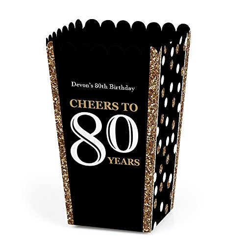 Big Dot of Happiness Personalized Adult 80th Birthday - Gold - Custom Birthday Party Favor Popcorn Treat Boxes - Custom Text - Set of 12