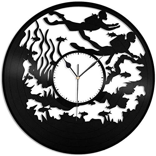 wttian Relojes y Relojes Vinilo Pared Buceo Decoración del hogar Diseño de Sala de Estar para Amantes del Buceo Oficina Vintage Bar Decoración de la habitación Mobiliario para el hogar