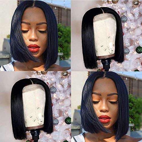 4x4 Short Bob Lace Closure Wigs Human Hair Straight Lace Front Wig Middle Part Natural Color Human Hair Lace Front Wigs (8 Inch)