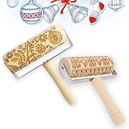 Embossed Rolling Pin, Diy Tool for Homemade or Christmas Cookies, Baking Laser Engraved Rolling Pin for Kitchen Pastry Dough Fondant Cake Baking AB