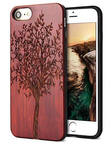 YFWOOD Holzkiste Ersatz für iPhone 7 iPhone 8 SE 2020 Hülle Holz Handgefertigte Holzschnitzerei Gummi Zurück Harte Stoßstange Haut Hybrid Schutzhülle