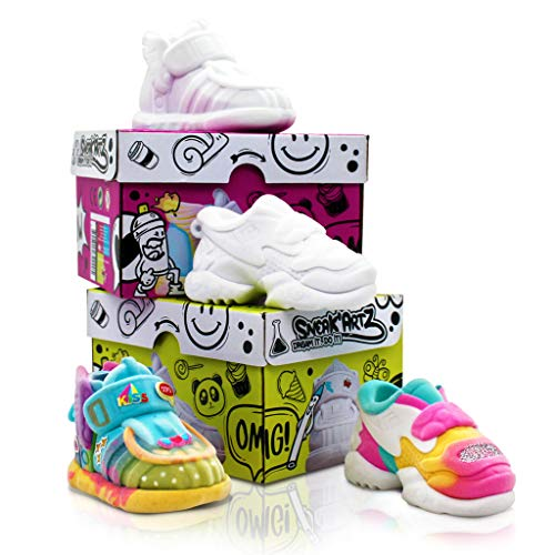 Splashtoys- SNEAK'ARTZ SHOEBOX Anis y Violeta-ocios creativos- Diseño y Personaliza Tus Zapatillas a Partir de 5 años, 32235