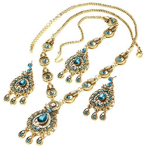 ZHANG De Conjuntos De Joyas Vintage Colgantes Collar Pendiente para Mujeres Mosaico De Color Dorado Regalos De Fiesta De Cristal Azul