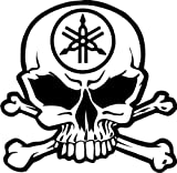 Yamaha Motorcycle Racing Skull Crossbones Car Truck Windows Decor Decal Sticker - Die Cut Vinyl Decal for Windows, Cars, Trucks, Tool Boxes, laptops, MacBook - virtually Any Hard, Smooth Surface