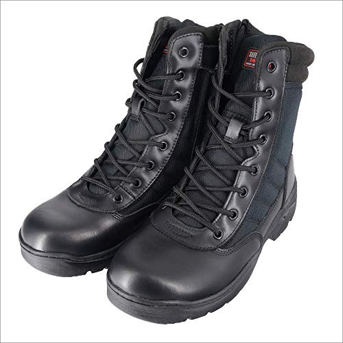 Botas tácticas ligeras sin metal negras con cremallera lateral de corte alto SRA, tácticas de seguridad para jogger – 5 UK