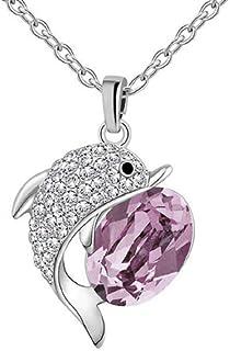 collar con colgante de delfín con circón transparente y cristalino de piedra fucsia de plata mujer de la joyería del regal...