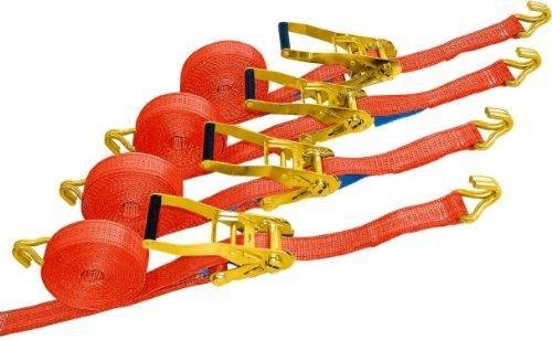 4 Profi Ladungssicherungs Zurrgurt 8 m 50 mm Set 4tlg. von Dolezych DoZurr 4000 mit Profi-Haken Spitzhaken 2000 daN direkt 4000 daN in der Umreifung DIN EN 12195-2 orange