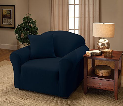 Madison Stretch Jersey Chair Slipcover, Solid, Navy