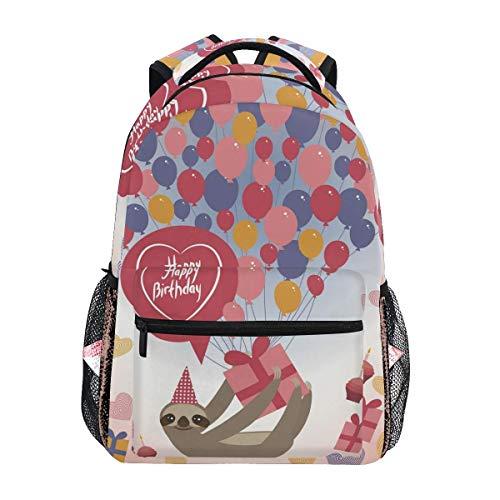 opi 90iuop Leichter Rucksack für die Schule, Faultier Geburtstagskarte Geschenk Luftballons Schule Büchertaschen Laptop Rucksack Gelegenheitsreisen für Junge Jungen und Mädchen