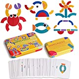 Wooden Pattern Blocks Jigsaw Puzzle Sorting and Stacking Games Montessori Educational Toys for Toddlers Kids Boys Girls Age 3+ Years Old and Classroom Shapes Puzzle