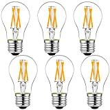 LiteHistory Dimmable E26 led Bulb 6W Equal 60 watt Vintage LED Edison Bulb AC120V 2700K A15 LED Bulb for Ceiling Fan Light Bulbs,Appliance Bulb and Refrigerator Light Bulb 600LM Clear Medium 6Pack