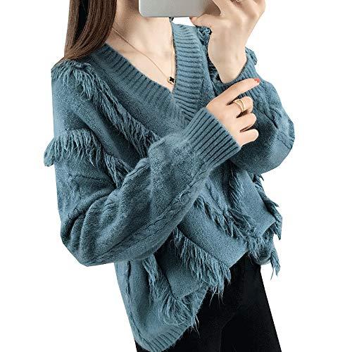 Suéter De Color Sólido De Manga Larga De Las Mujeres Suéter del Puente Tops Presente Regalo (Color : Azul, tamaño : One Size)