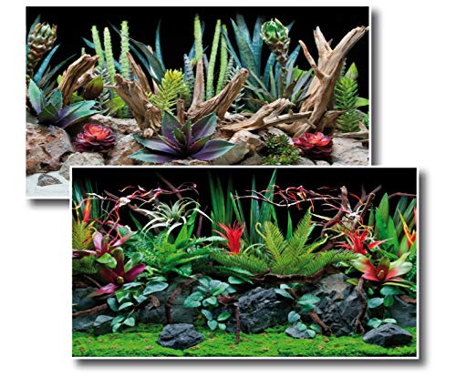 Amtra Deko Fotorückwand Flora beidseitig Bedruckt 120x60cm 2in1 Rückwandposter Rückwand Folie Aquarien Poster Foto Folien