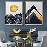 Impresión de arte en lienzo, carteles modernos de montaña abstracta, arte de pared nórdico, pinturas geométricas doradas para sala de estar, decoración del hogar-40x60cmx2 sin marco