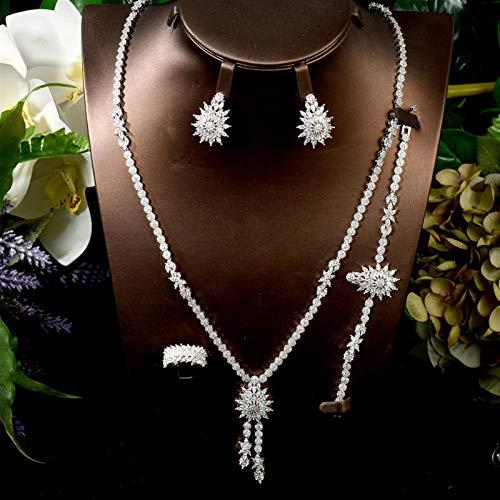 AMINIY Charms Trendy Women Pendiente Collar Conjunto AAA CUBICA Zirconia JOYERÍA Juego para Joyería De Maleza Nupcial (Color : White Color)