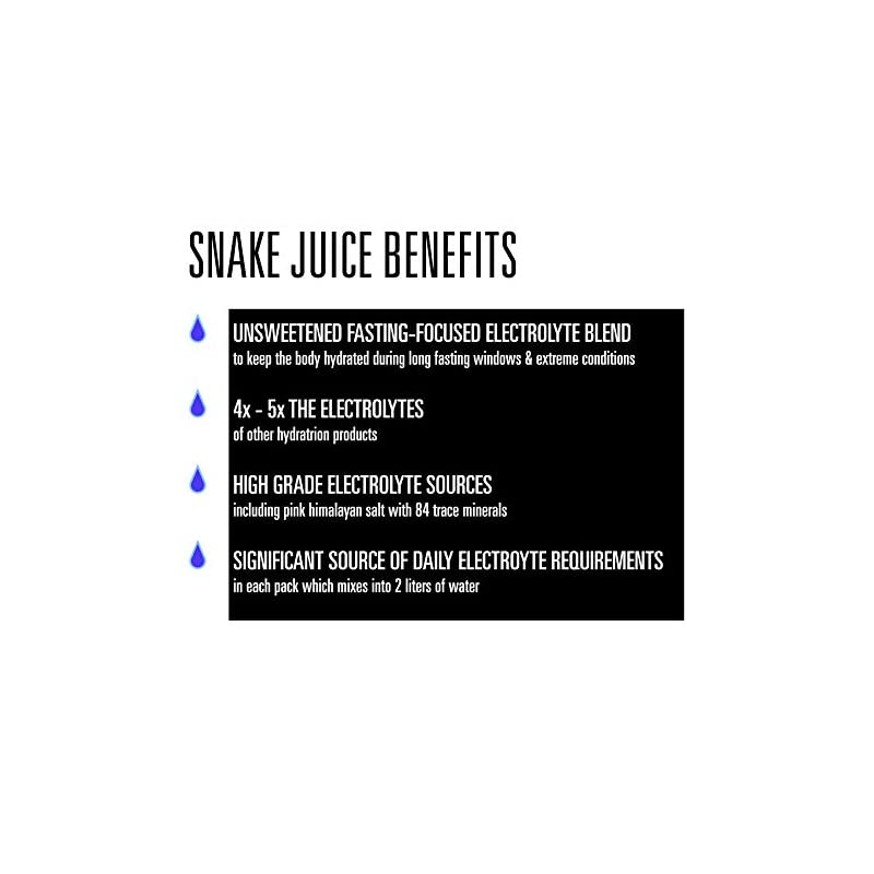 SNAKE Juice Keto Diet Electrolyte Powder, Unflavored, Fasting-Focused Supplement Beverage Mix, 30 Easy-Open Packets