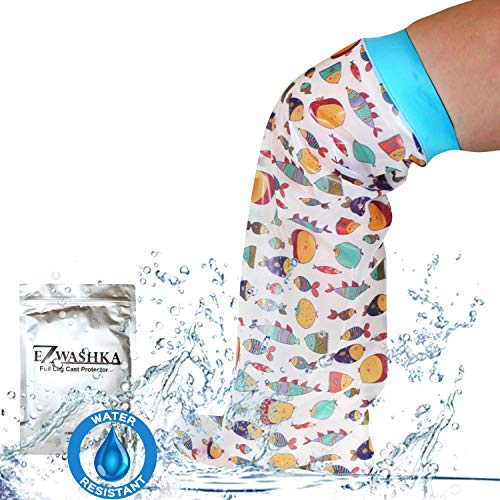 Kids Cast Cover for Showering Foot –Waterproof Reusable Cast Protector for Toddlers and Little Kids with Cute Design with Fish – Easy to Put On