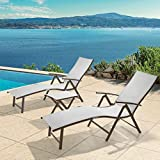 Crestlive Products Aluminum Beach Yard Pool Folding Recliner Adjustable Chaise Lounge Chair and Table Set All Weather for Outdoor Indoor, Brown Frame (Light Gray)