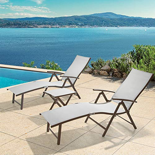 Crestlive Products Aluminum Beach Yard Pool Folding Recliner Adjustable Chaise Lounge Chair and Table Set All Weather for Outdoor Indoor (Light Gray)
