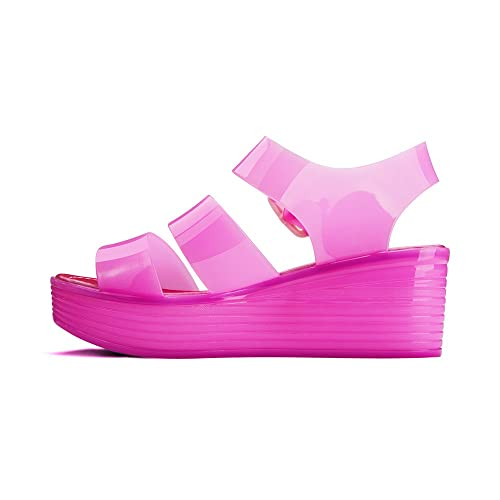 bbd62c876d46 Chemistry Women s Jelly Platform Wedge Heel Sandals Adjustable Strap Upper  Low Top Shoes Purple