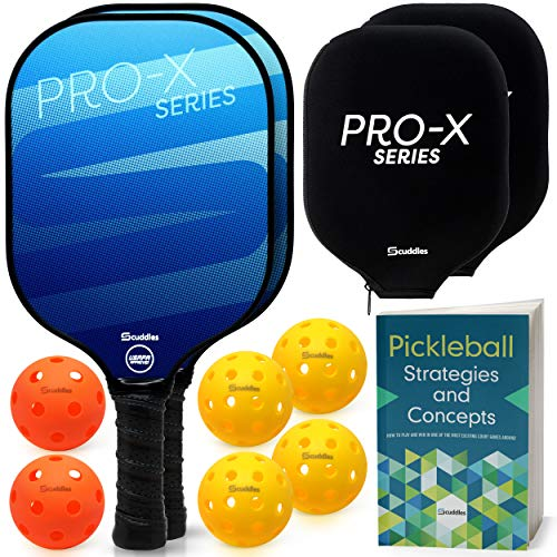 Scuddles Pickleball Paddle Raquette Set of 11 Includes - 1 Instructional Book 2 Indoor and 4 Outdoor Pickleballs 2 Paddles Covers and 2 Rackets