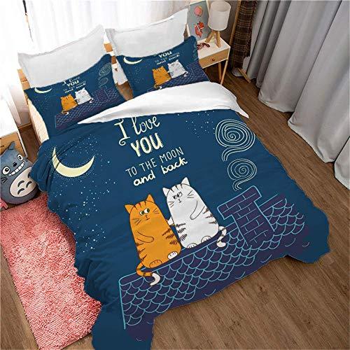 YLWMBB Bettwäsche Set Dachkatze 3D Druck Wende Bettbezug Set Faltenfreie Bettdecke Bettbezug Sets mit 2 Kissenbezügen und Reißverschluss 240x220cm