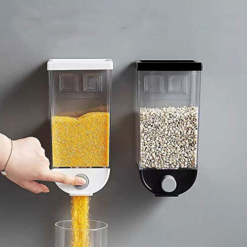 Acreny Müsli-Spender-Behälter, Wandmontage, Müsli-Spender, Behälter, 1500 ml, für Trockenfutter weiß