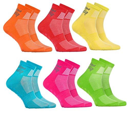 Rainbow Socks - Jungen Mädchen Sneaker Baumwolle Antirutsch Sport Stoppersocken - 6 Paar - Orange Rot Gelb Blau Grün Rosa - Größen 24-29