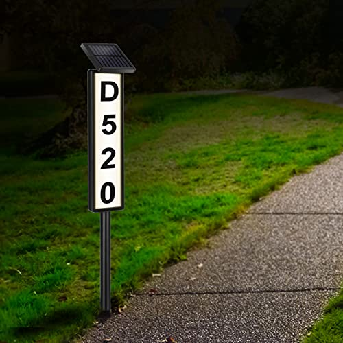 Lighted Address Plaques for House,Solar House Address Numbers Sign,Solar Powered House Numbers ,Waterproof Solar Address Signs for Home Yard Garden House (Warm White/Cool White,Height 35 Inches,1pack)