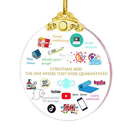 Erwei International 2020 Christmas Ornament Quarantined A Year to Remember Hanging Ornaments Present Friends Survive Novelty Souvenir Christmas Tree Pendant